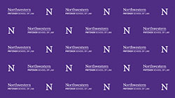logo repeated on purple background