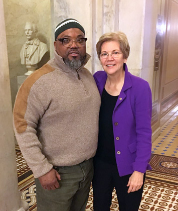 Alton Mills with Senator Warren