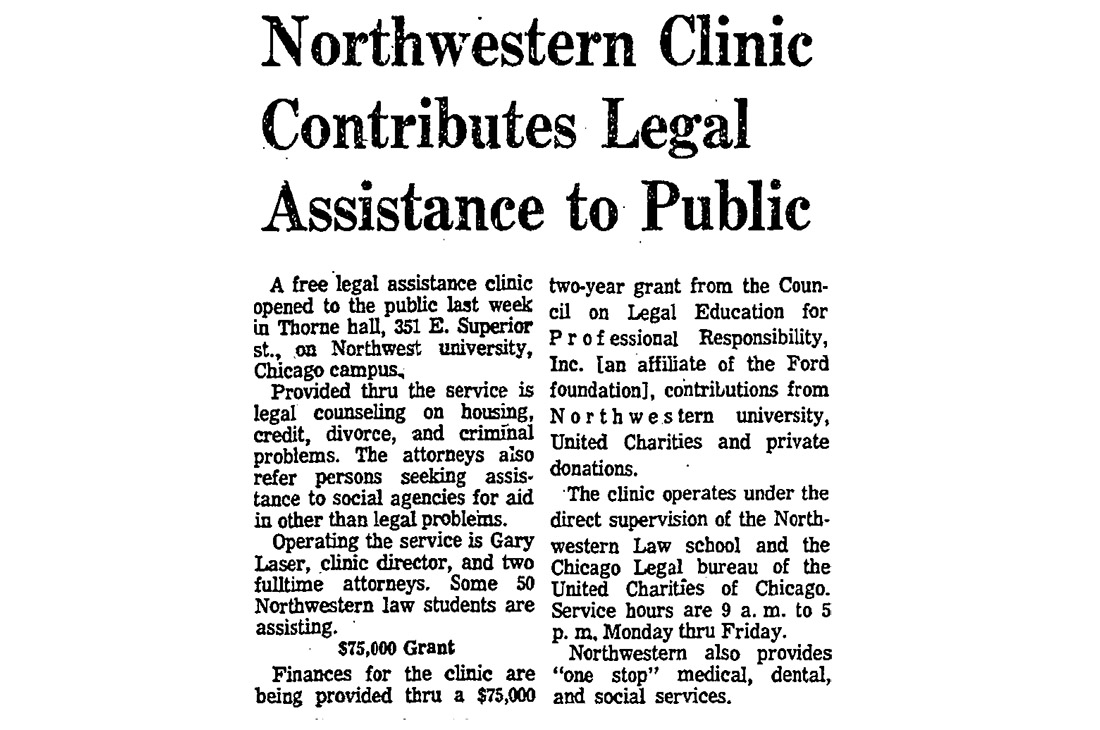 Tribune article announcing legal clinic opening