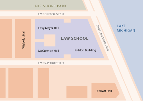 Northwestern Law School Campus Map: Levy Mayer Hall, McCormick Hall, Rubloff