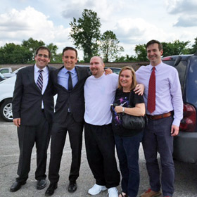 Jason Strong at the Menard Correctional Facility parking lot on the day of his release