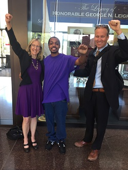 Marcel Brown with CWC attorneys Karen Daniel and Greg Swygert after his release